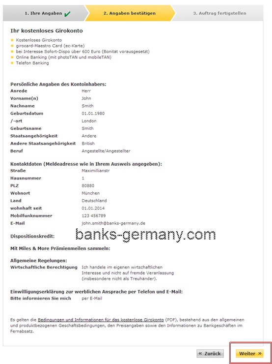 Commerzbank Account Application - Confirm Details