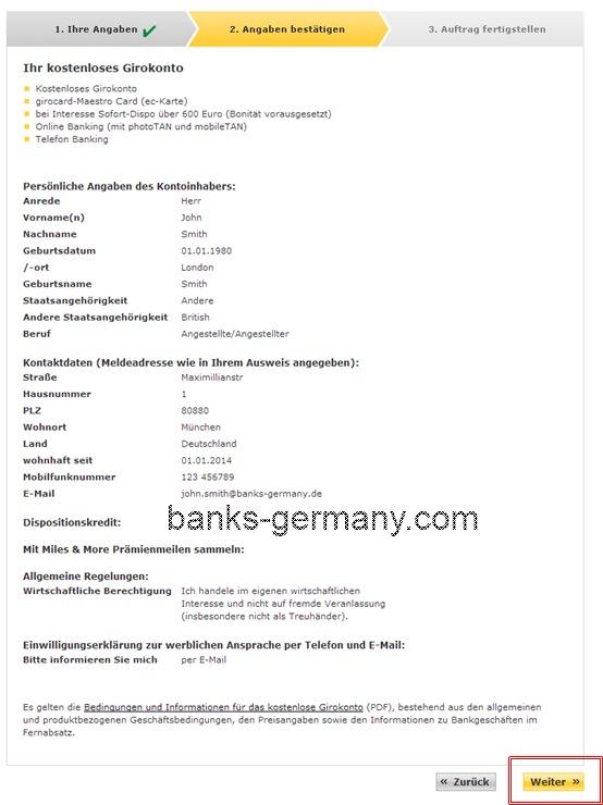 Commerzbank Account Application - Confirm Details