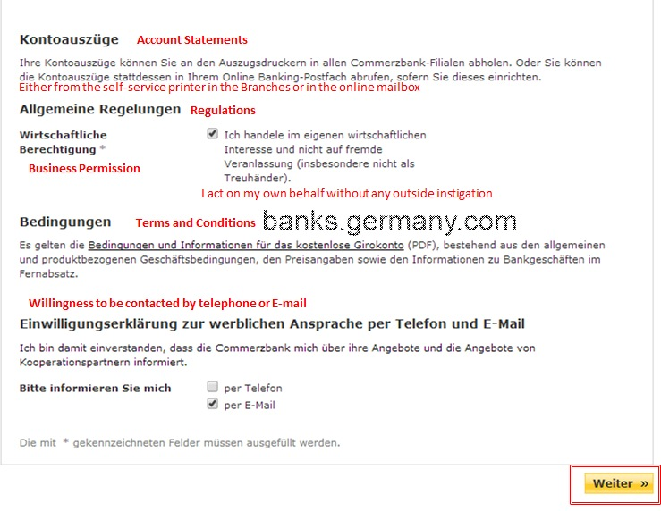 Commerzbank Account Application - Confirm Terms