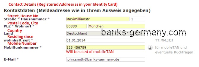 Commerzbank Account Application - Contact Data