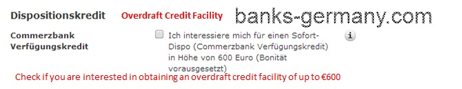 Commerzbank Account Application - Overdraft Credit Facility