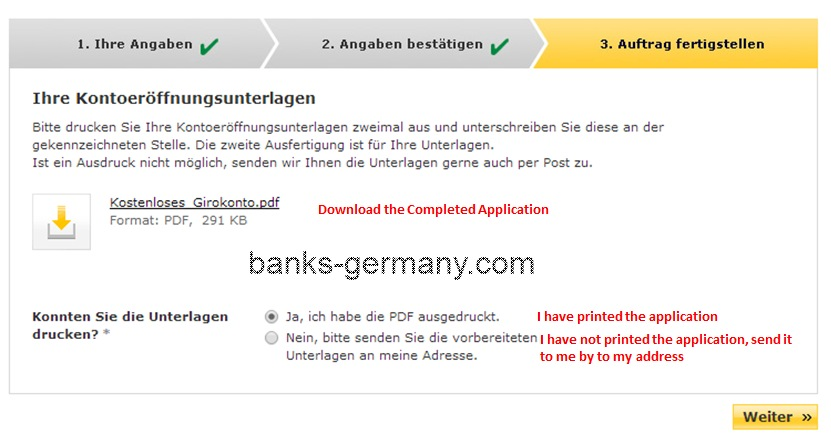 Commerzbank Account Application - Print Completed Application