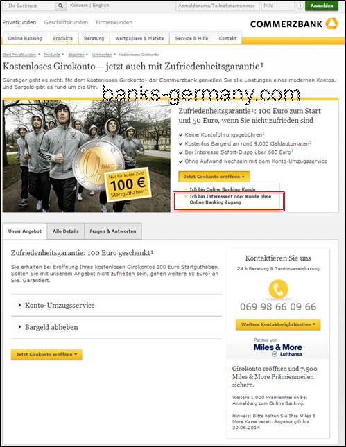 Commerzbank Account Application - Start Page