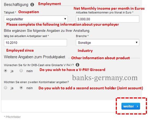 DKB Cash - Employment Details