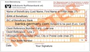 SEPA ueberweisung Form - Translated in English