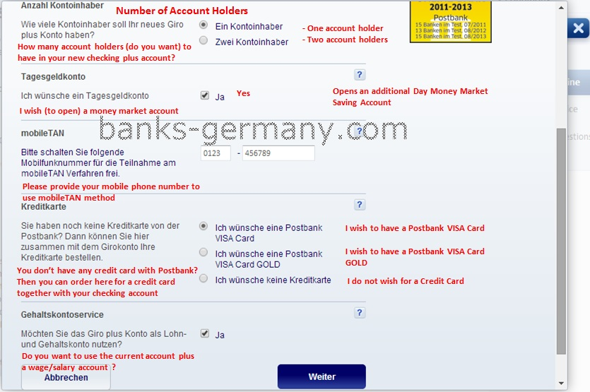 Postbank Application Form - Account Details