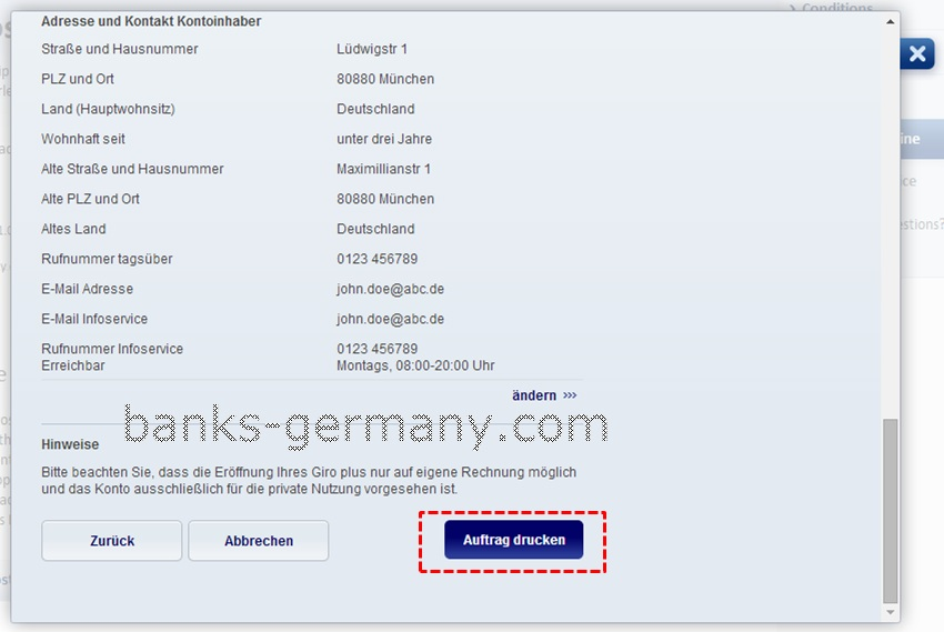 Postbank Application Form - Verify Details