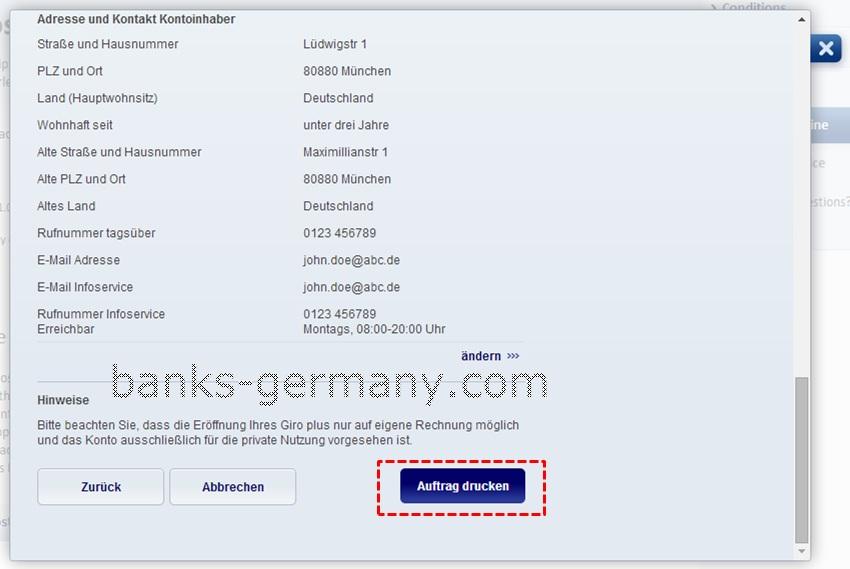 Postbank Application Form - Verify Details