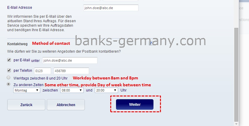 Postbank Application Form - Contact Mode
