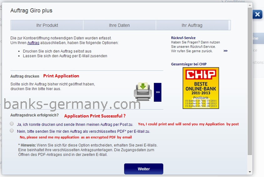 Postbank Application Form - Print Application