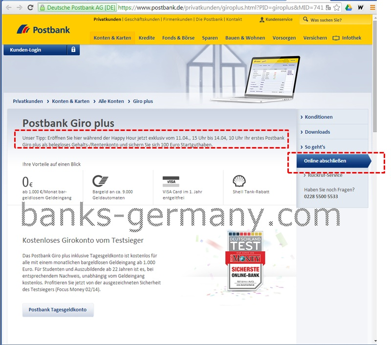 Postbank Giro Plus Frontpage