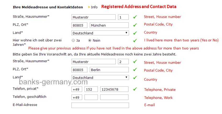 Address Details - Comdirect