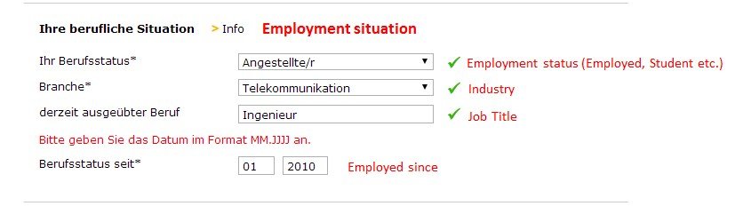 Employment Details - Comdirect