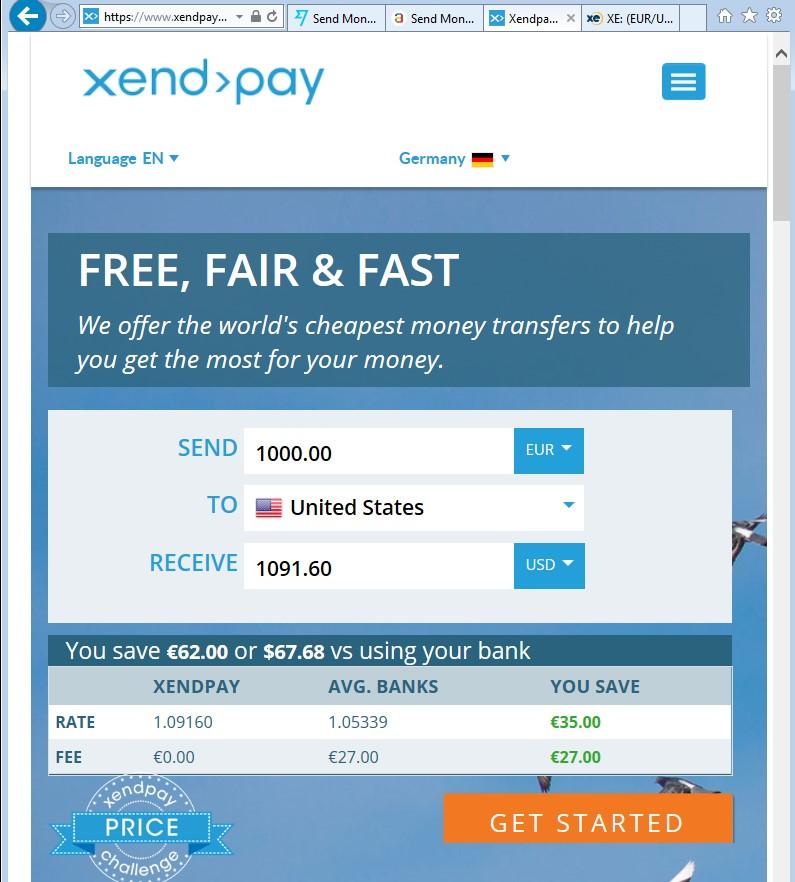 Xendpay €1000 = $1091.60